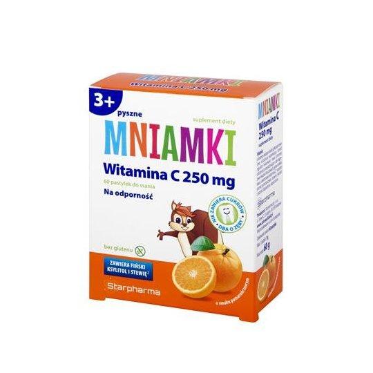 MNIAMKI WITAMINA C 250 mg POMARAŃCZOWE PASTYLKI DO SSANIA BEZ CUKRU BEZ GLUTENU 60g - STARPHARMA