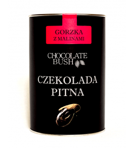 CZEKOLADA DO PICIA GORZKA Z MALINAMI 200 g – CHOCOLATE BUSH