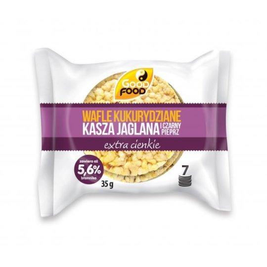 WAFLE KUKURYDZIANE KASZA JAGLANA I CZARNY PIEPRZ EXTRA CIENKIE 35g – GOOD FOOD